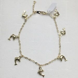 14K Yellow Gold Dolphins Charm Bracelet